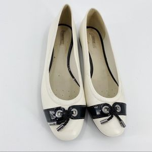 Geox leather white flats with black tie detail